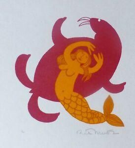 RIE MUNOZ 1921-2015 Mermaid & Walrus HAND SIGNED SERIGRAPH 1985 US ALASKAN ART