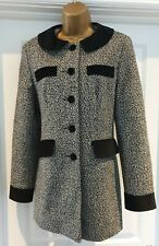 Stunning Miss Selfridge Tweed Coat/Long Jacket with Velvet Trim Size 10/12