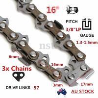 3PCS 57 Links 3/8 0.05'' Chainsaw Chain For McCULLOCH HUSQVARNA STIHL 16'' Bar