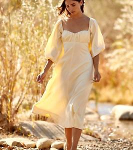 Free People x Endless Summer Louie Romantic Boho Yellow Midi Dress XS BNWT $118