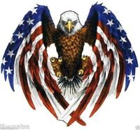 AMERICAN OPEN FLAG EAGLE HELMET BUMPER STICKER DECAL MADE IN USA 3 IN