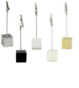 Cube Photo Holder Memo Clip Name Place Card Table Number Picture Note Stand