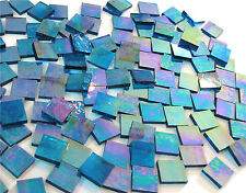 "110 Mosaic Tiles 1/2"" Royal Blue Iridescent Transparent Stained Glass Stunning!"