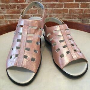 Sesto Meucci Metallic Sand Leather Elita Cutout Slingback Sandal 7 W New Italy