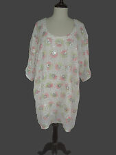 "M L 1X   Chiffon Kaftan L 36"" Embroidered Caftan Tunic Dress EP93"