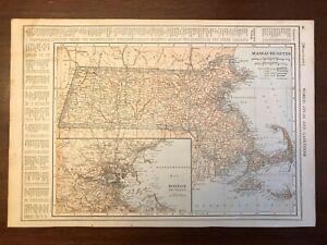 1917 Massachusetts Map w/ Boston Inset, Encyclopedic Atlas and Gazetteer