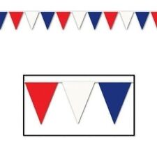 Red, White & Blue Pennant Banner ( Pack of 12)