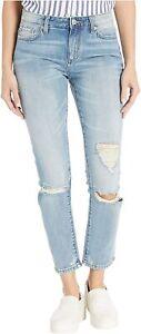 Miss Me Women's High Rise Boyfriend Jeans Size 27 NWT Light Blue Destroyed Wash