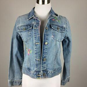 Gap Girls Jeans Jacket Size L Denim Embroidery Floral Light Wash Button Up