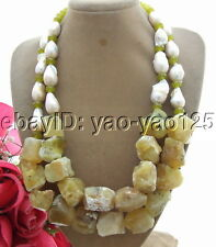 R060505 18mm bead-Nucleated Pearl&Yellow Opal&Jade Necklace