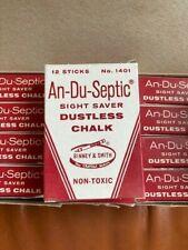 Vintage Box An Du Septic Dustless Chalk Binney & Smith Crayola 1401 Yellow 144