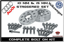 4 Pc Audi VolksWagen Staggered 10 MM & 15 MM Wheel Spacers 5x100 5x112 57.1 H.B