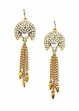 STELLA & RUBY Crystal with Tassel 14K Gold Plated Statement Earrings $45 NEW