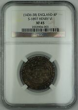 (1436-38) England Silver Groat Fourpence 4P Coin S-1897 Henry VI NGC XF-45 AKR