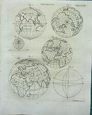 1797 impresión georgiano ~ Globos terrestres hemisferios ~ Geografía Astronomía