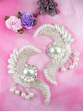 Fs3363 Radiant Pearl Swirl Mirror Pair Beaded Appliques 4""