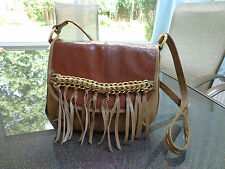 "Bodhi ""Gaansevort"" Leather Flap Crossbody Bag Fringe Detail-Cognac- Retail $618."