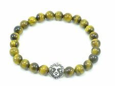 Men's Beaded Tigers Eye Bracelet Stainless Steel Bead Lion Head Stretch 8mm