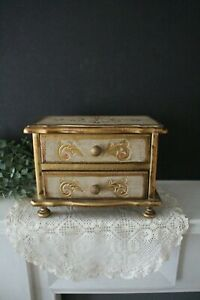 Hand Stenciled Painted Gilded Embossed Fleur de Lis 7.75 Italian Style Decorated Wood Vintage Florentine Musical Jewelry Box