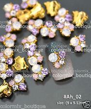 10pcs Nail Art Deco(9 x 9.5)mm Light Pink Alloy Jewelry Glitter Rhinestone#Ah_02