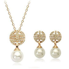 ITALINA 18K ROSE GOLD GP GENUINE AUSTRIAN CRYSTAL PEARL NECKLACE & EARRING SET