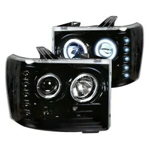 Recon For 07-13 Sierra Black CCFL Proje Headlights with LED DRL 264271BKCC