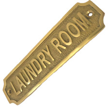 RETRO LAUNDRY ROOM SIGN ANTIQUE CHIC STYLE BRASS PLAQUE KITCHEN WITH SCREWS