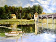 Stretched Monet Bridge at Argenteuil II Repro, Hand Painted Oil Painting 36x48in