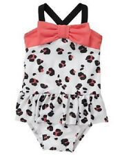 Gymboree Pink & Black Leopard Animal Print One-Piece Swimsuit Baby Girl 18-24 Mo