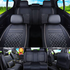 US Stock Car Seat Cover Size L PU Leather Rear+Front Cushion 5Seats All Season