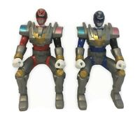 Action Figure Power Rangers MMPR SPD Patrol Red Blue Seated Figures Lot Of Two 2