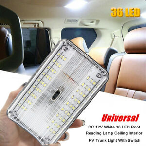 12V LED Roof Reading Lamp Ceiling Car RV Trunk Interior White Light With Switch