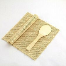 Yellow/Yellow Bamboo Sushi Mat With Rice Paddle Set S-3677