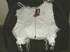 SEXY WHITE LACE PVU  & BOWS  Basque HOURGLASS ⌛ Corset  ZIP FRONT SIZE 10 NEW