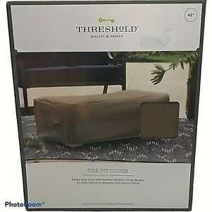 """Threshold Rectangle Fire Pit Cover Tan 42""""x 16"""" Weather Resistant UV Protection"""