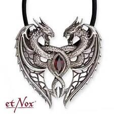 """Halskette: Anhänger ''Dragons Heart"""" Silber Zirkonia mit Band Gothic deluxe"""