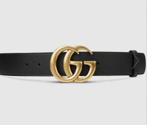 Gucci Leather belt with Double G buckle, Black leather, AS NEW! RRP $680