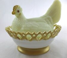 Glass Hen on Nest Covered Dish Chicken Atterbury Custard w/Milk Lace Base Chick