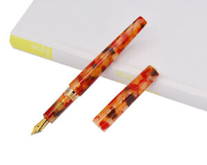 Fuliwen Celluloid Fountain Pen Rhombus Beautiful Orange Flower, Iridium Gold Nib