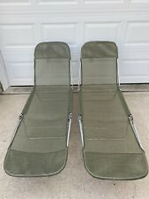 Lot 2 Folding Lawn Lounge Chairs Beach Pool Mesh PVC Adjustable Army Green