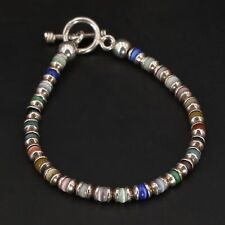 "Sterling Silver - MEXICO Multi-Colored Cat's Eye Bead Strand 7.5"" Bracelet - 12g"
