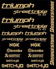 KIT ADESIVI GRAFICHE STICKERS MOTO SPONSOR GOLD CARENE TRIUMPH STREET TRIPLE