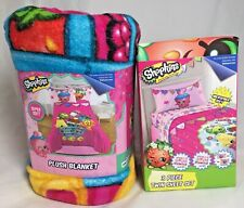 4-Piece Shopkins Plush BLANKET and Twin SHEET Set Microfiber Bedding Grocery NEW