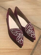NIB Sophia Webster Bibi Butterfly flats winter cherry size 39.5