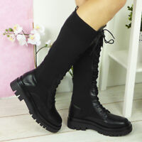 Womens Sock Boots Ladies Goth Punk Lace Up Heel Platform Comfy Warm Shoes Sizes