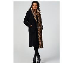 Helene Berman Faux Fur Collar Coat Black Size 10 BNWT