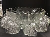 Vintage Punch Bowl With 8 Cups And Hooks With Ladle
