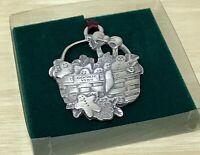 Longaberger Commemorative Pewter Cookie Basket Christmas Ornament 1985 New