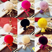 Soft Fluffy Faux Rabbit Fur Pompom Ball HandBag Key Ring Pendant Car Key Chain