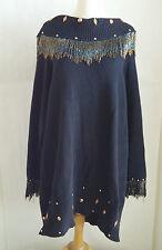Vintage RALPH L Sweater 80's Black Southwest Beaded Fringe Stud Trim XXXL+